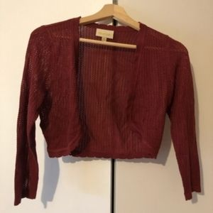 ModCloth Red Cropped Short Shrug Cardigan Small